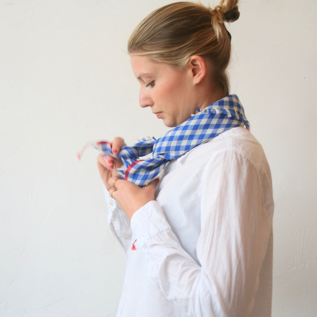 Cashmere Gingham Scarf - Blue