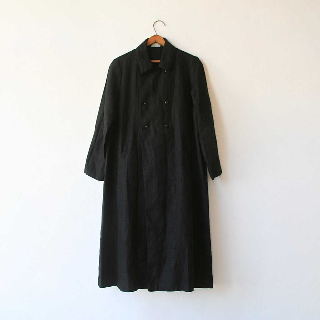 Fog Linen Double-Breasted Overcoat - Black