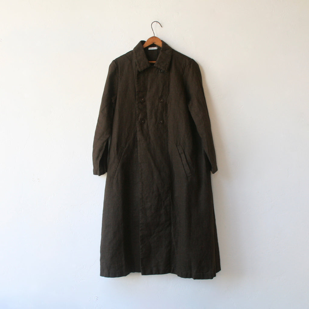 Fog Linen Double-Breasted Overcoat - Chocolate