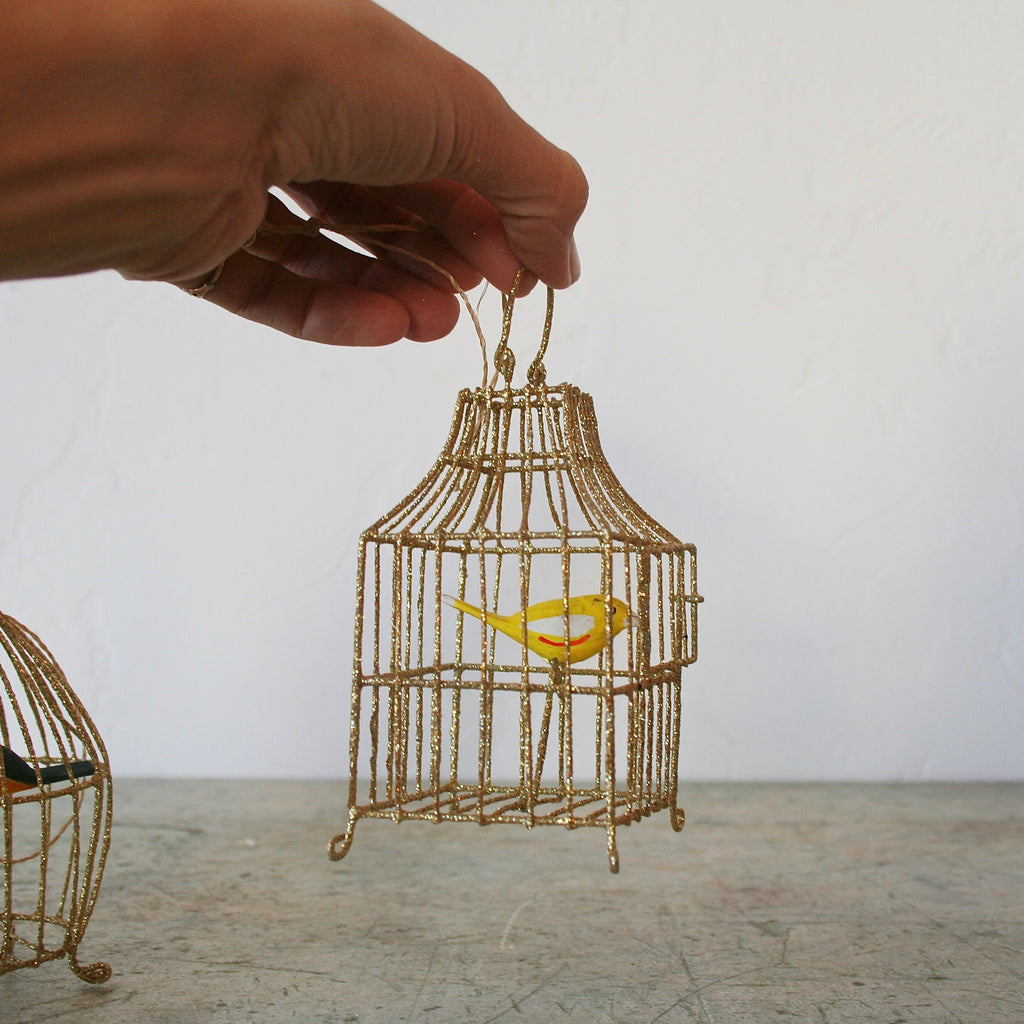 Gilded Birdcage Ornaments - 3 Options