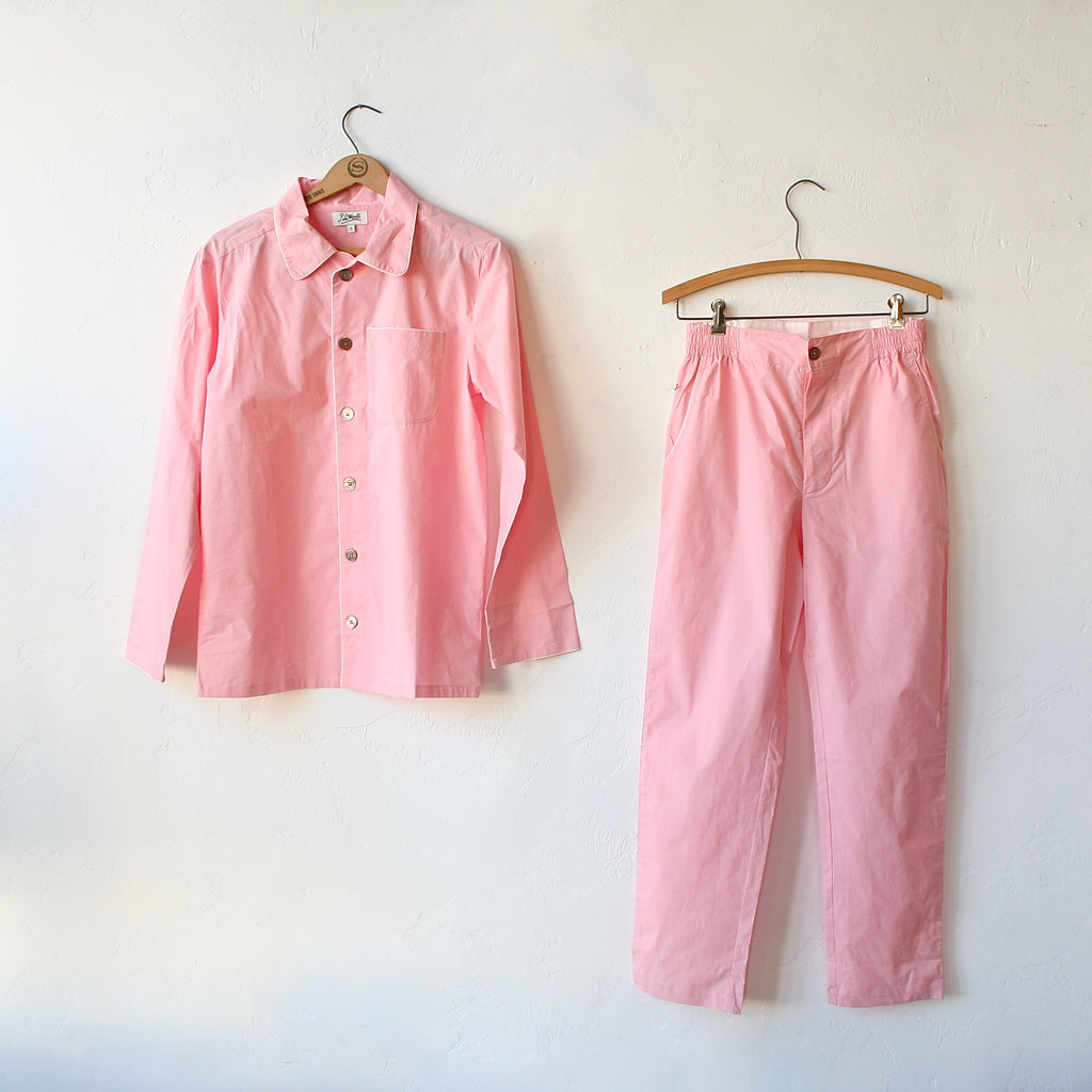 P. Le Moult Pajama Set - Pink with White Piping
