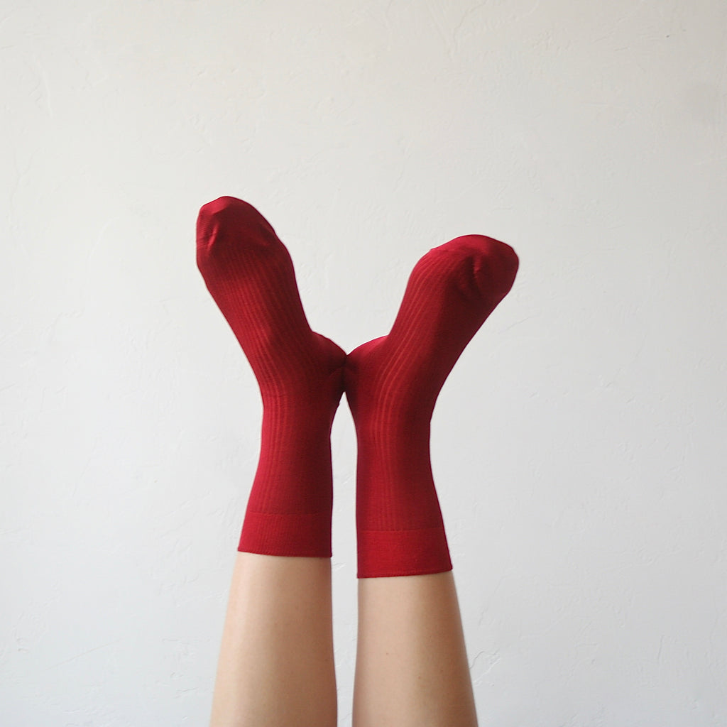 Maria la Rosa Silk Socks - Deep Red
