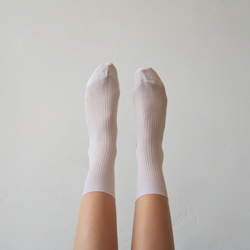 Maria la Rosa Silk Socks - Off-White