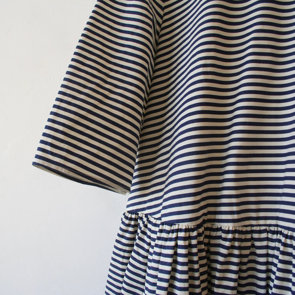 Apuntob Peter Pan Dress - Navy Striped Cotton