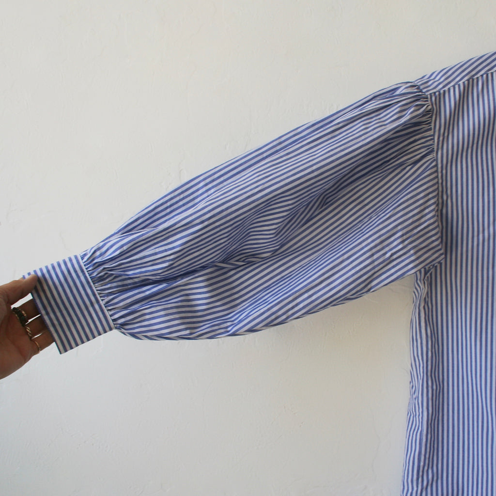 Ichi Antiquités Gather Sleeve Shirt - Blue and White Stripe