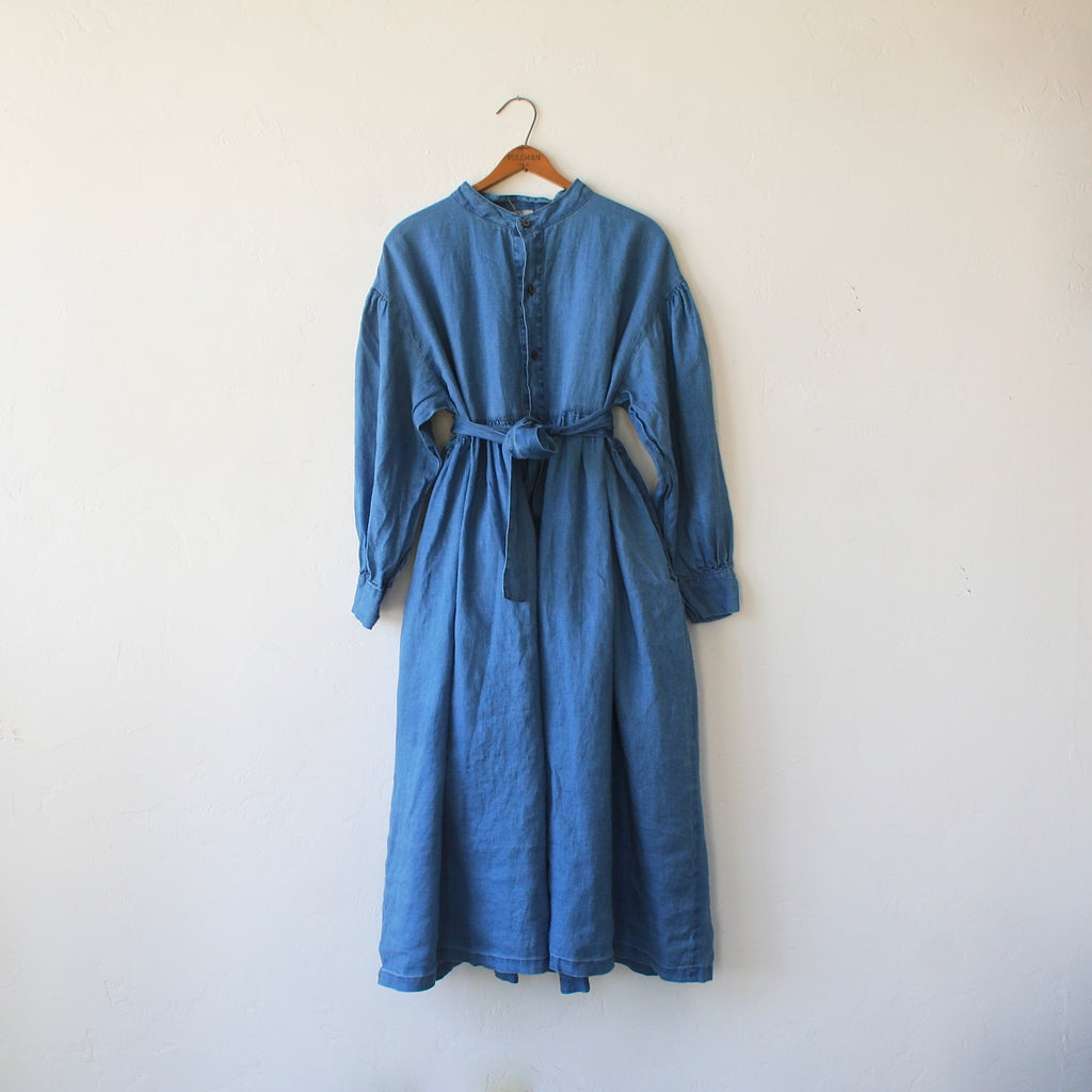 Ichi Antiquités Linen Dress - Bleached Indigo