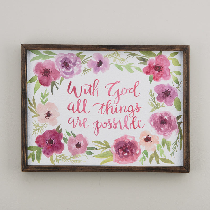 All Things Are Possible Framed Watercolor