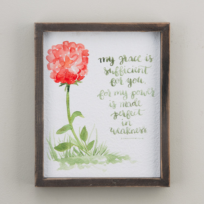 My Grace Is Sufficient Framed Watercolor Print