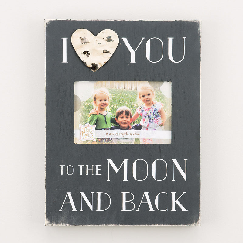 I Love You To The Moon Tin Heart Frame