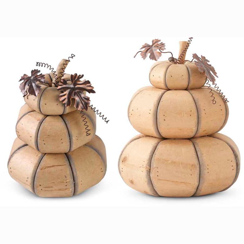 Three Stack Wooden Pumpkins