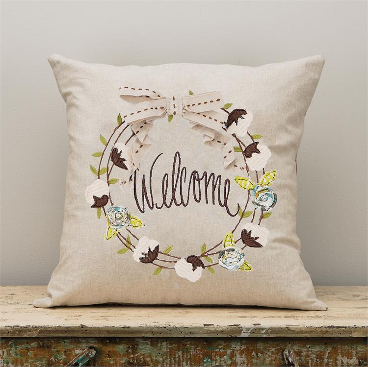 Welcome Wreath Pillow
