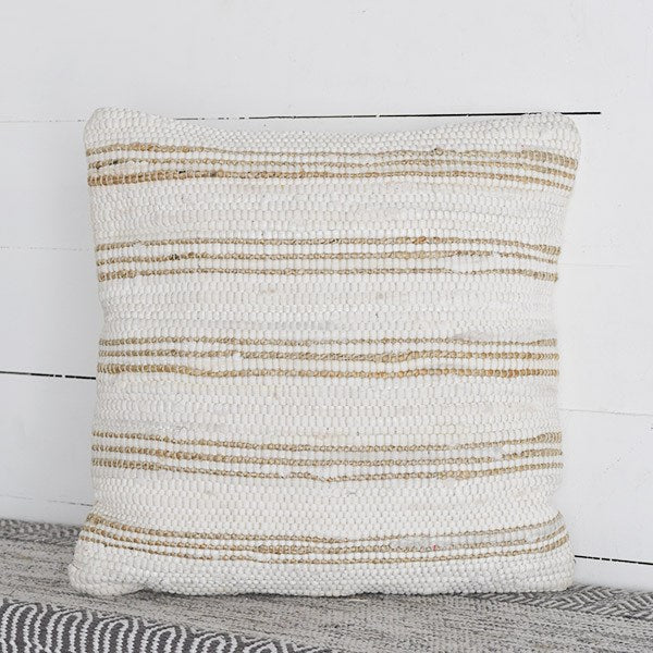 Tan and White Striped Pillow