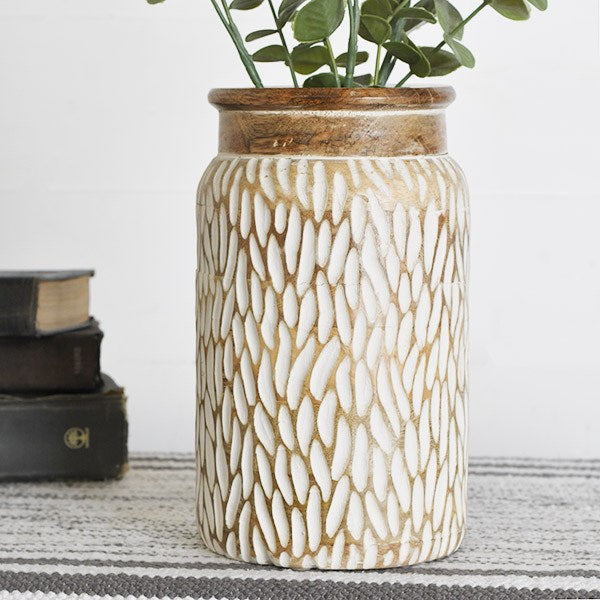 "10.25"" Carved Wood Jar"