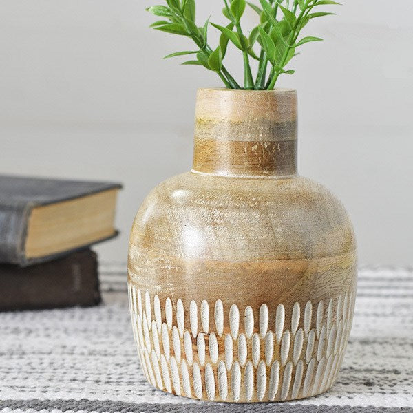 "6"" Carved Wood Dome Vase"