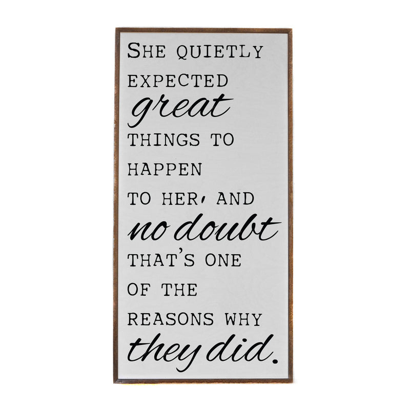"18x36 ""She Quietly Expected Great Things"" Box Frame Sign"