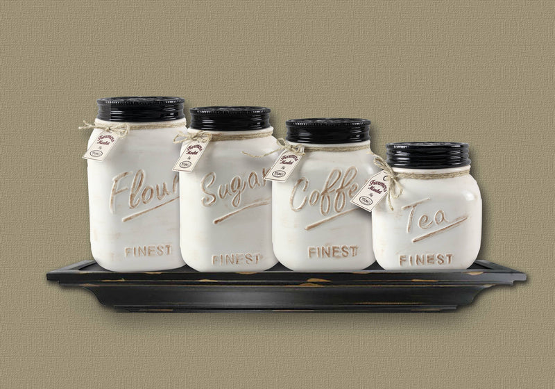 Ceramic Jar 4 Piece Canister Set