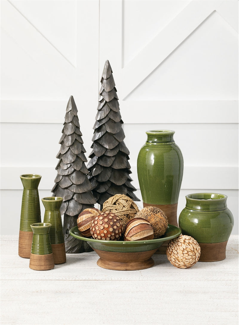 Green & Brown Ceramic Vase