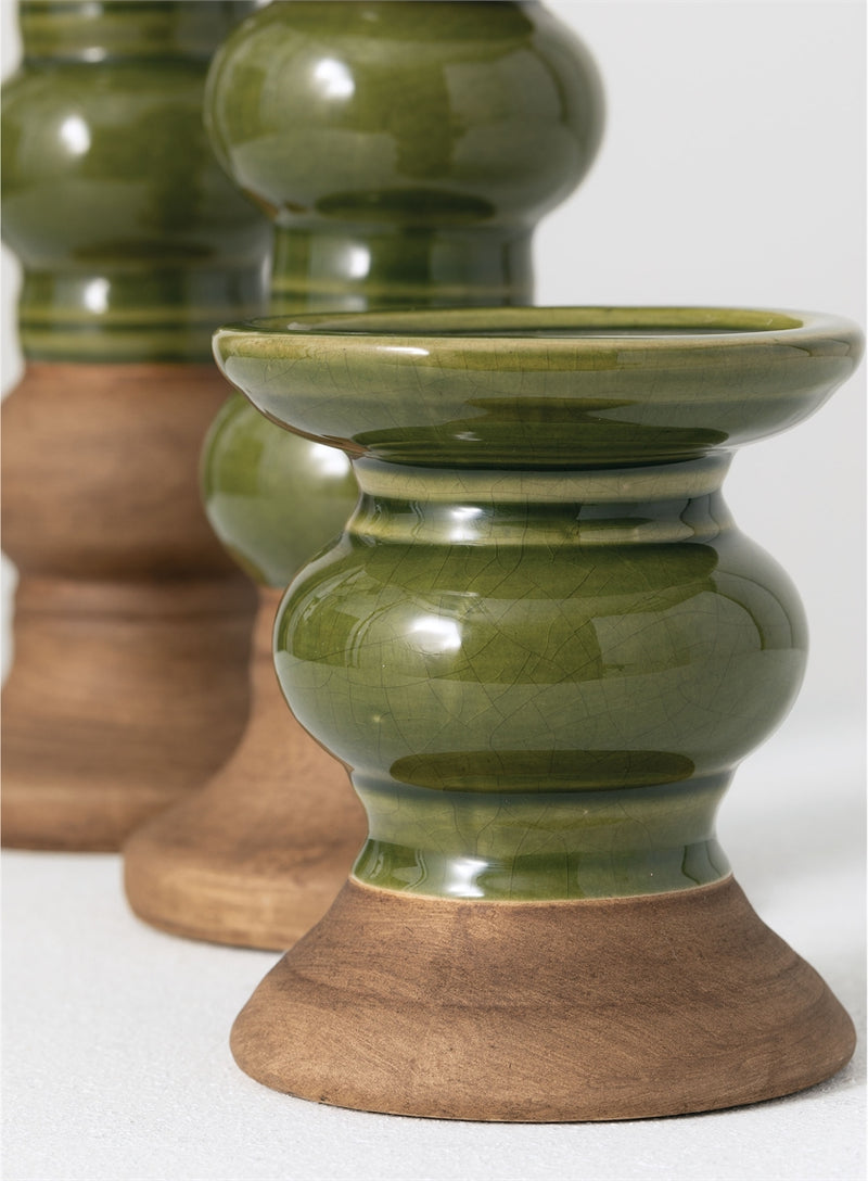 Green & Brown Ceramic Candle Holder