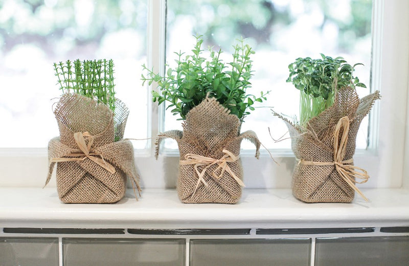 Burlap Wrapped Artificial Potted Herb