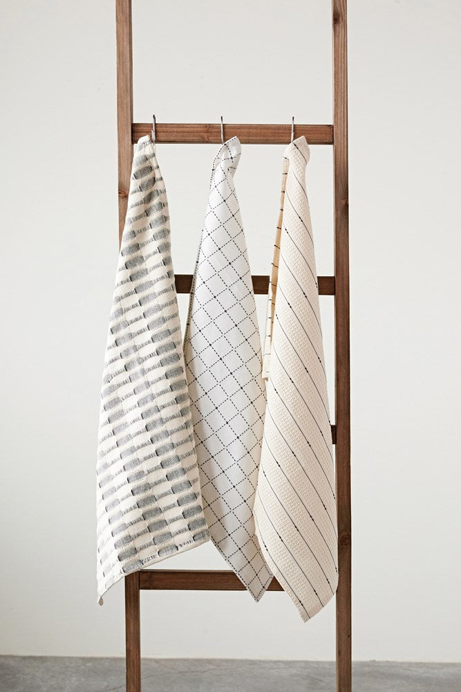 Cotton Tea Towels, Set of 3, Cream w/ design