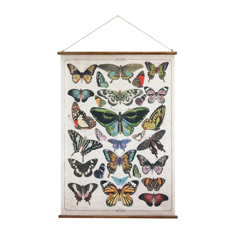 Canvas & Wood Scroll Wall Decor w/ Butterflies