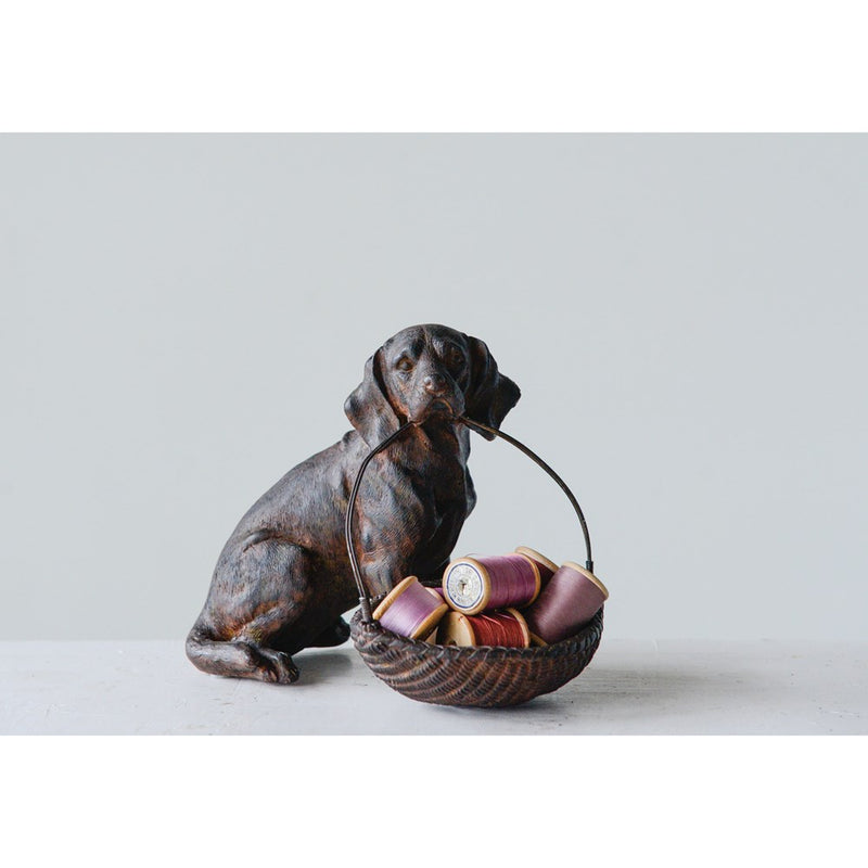 Resin Dog w/ Basket