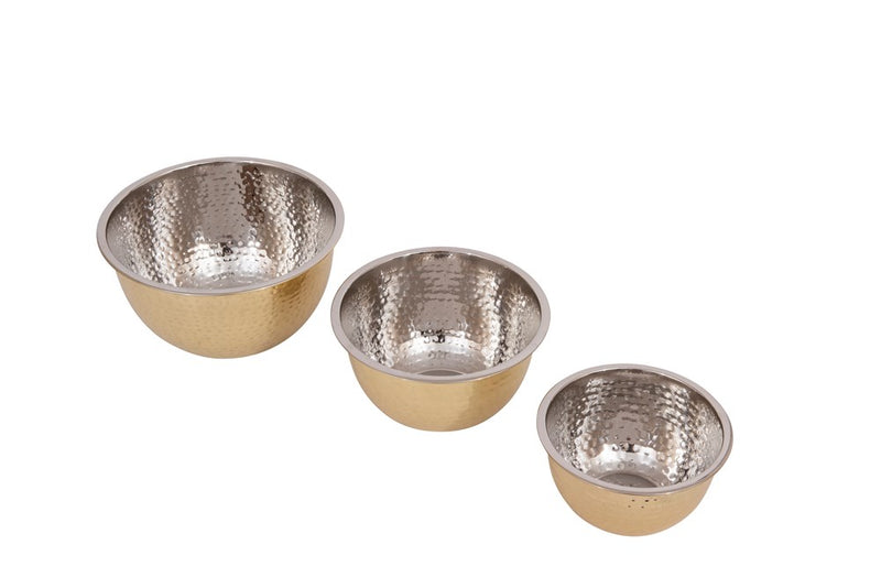 Quart Hammered Stainless Steel Bowls w/ Gold Finish