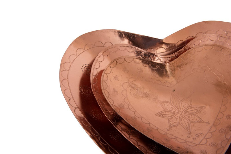Decorative Embossed Metal Heart Dishes
