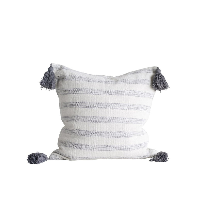 White and Grey Square Cotton Woven Striped Pillow with Tassels