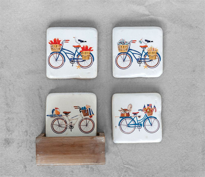 Square Resin Coasters w/ Bicycle in Wood Box, Set of 5