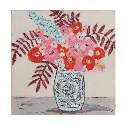 Wood Block Sitter with Flowers in Vase