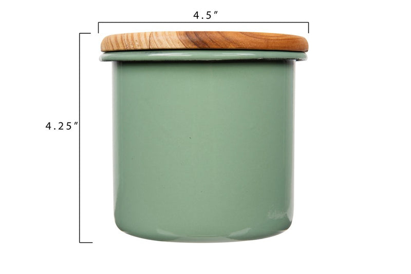 Enameled Container w/ Wood Lid