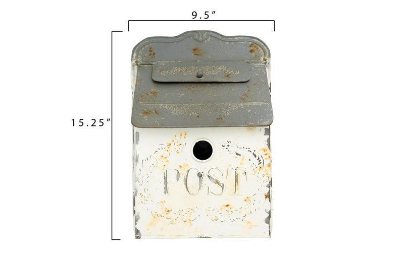 "Embossed Tin ""Post"" Box, Distressed White & Grey"