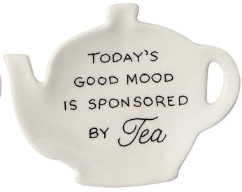 Stoneware Teapot Dish w/ Tea Saying