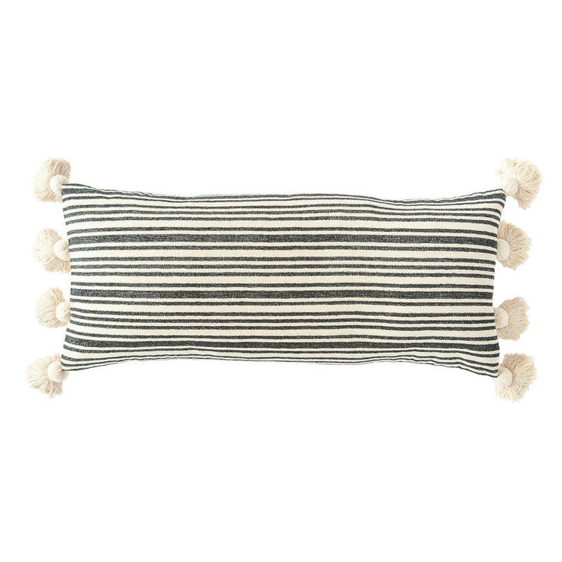 Cotton & Chenille Woven Striped Lumbar Pillow w/ Tassels