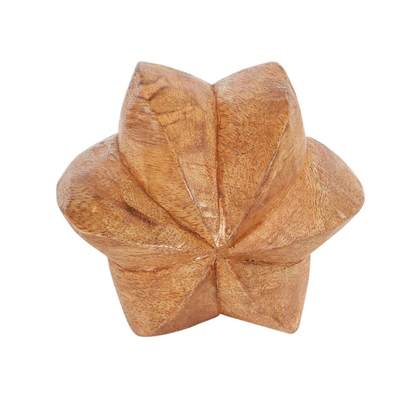 Round Hand-Carved Mango Wood Star Fruit