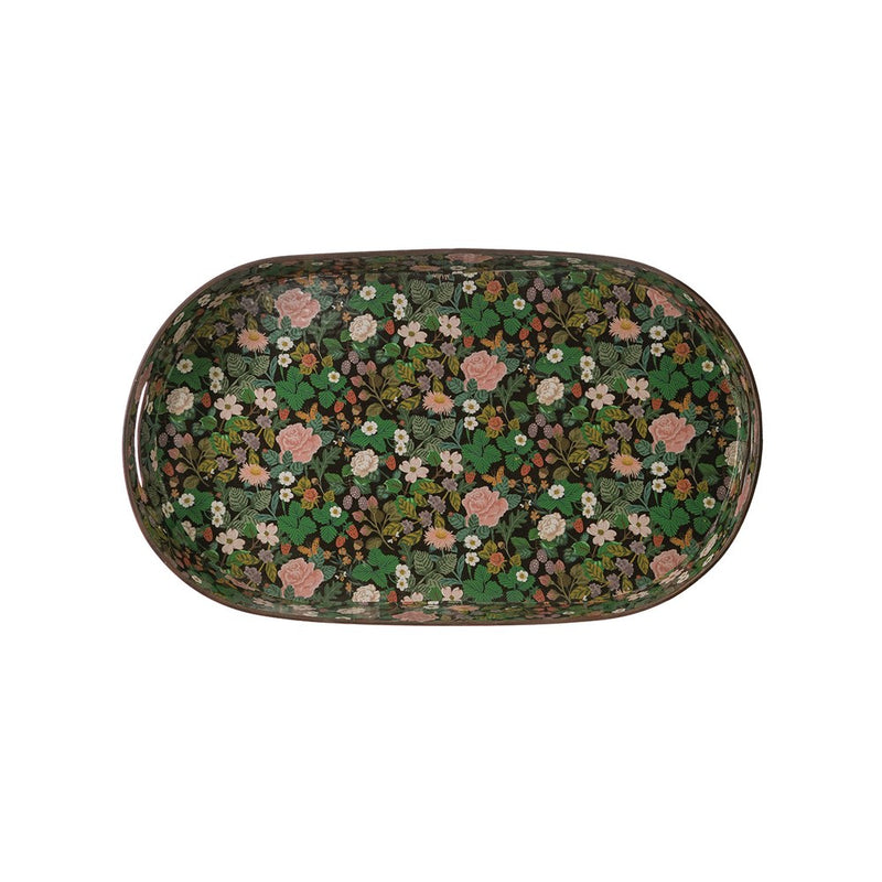 Decorative Metal Tray w/ Floral Pattern & Handles