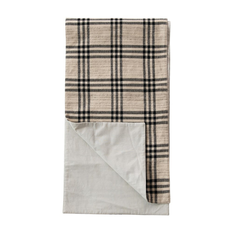 Black Plaid Woven Cotton & Wool Table Runner