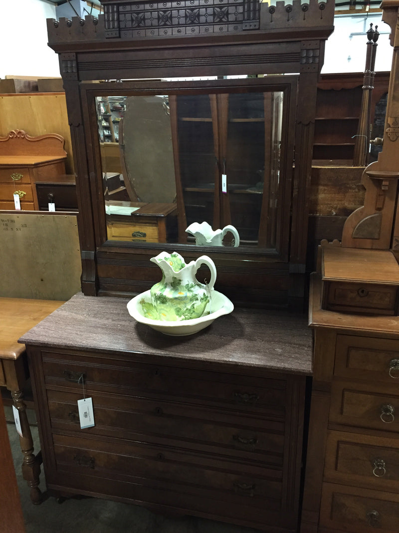 Pink Marble Top Dresser w Mirror ANTIQUE