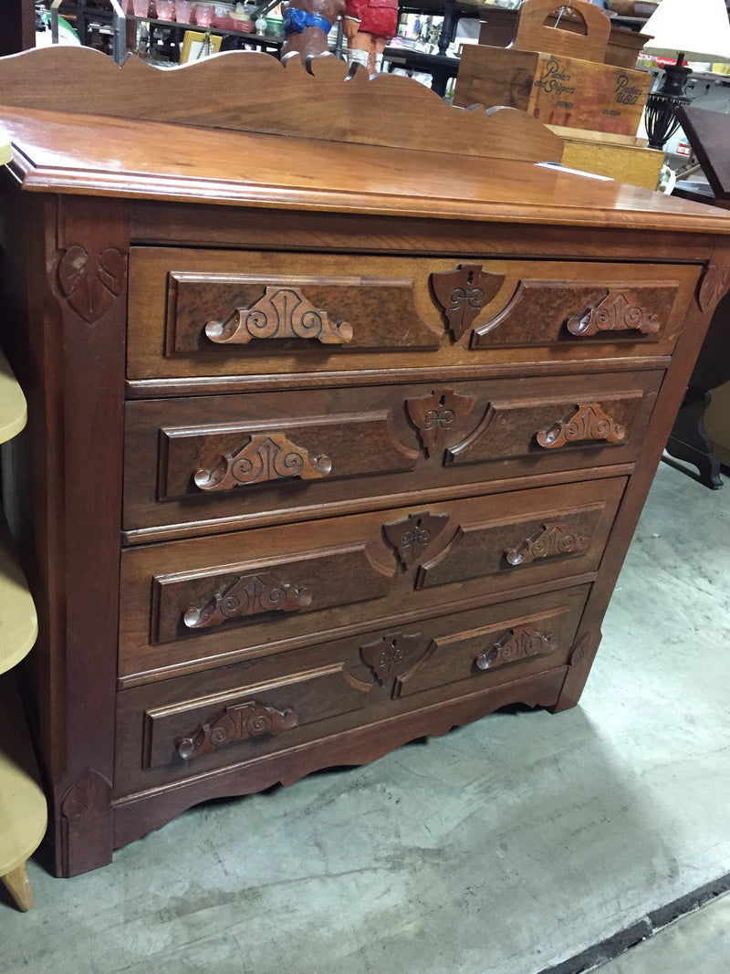 Burled Walnut Carved 4 Drawer Chest