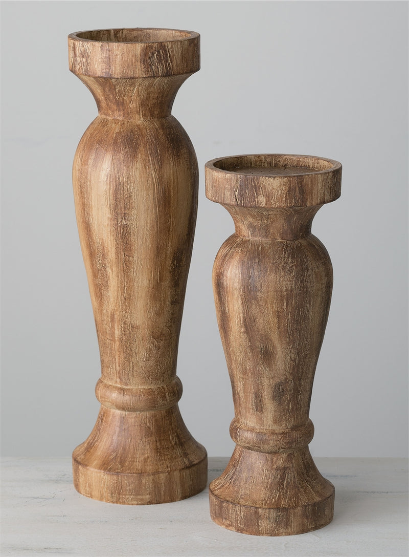 Wood Look Candle Holder