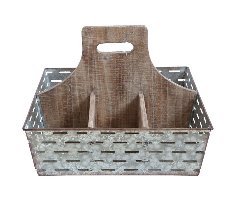 Metal & Wood Caddy w/ 6 Compartments