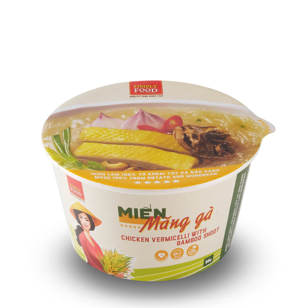Chicken and Bamboo Shoot Vermicelli Glass Instant Noodle Bowl - Mien Mang Ga - (Pack of 9)