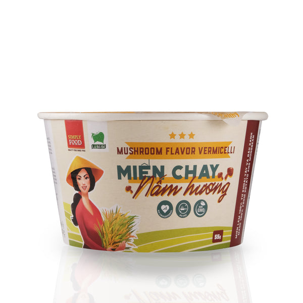 Mushroom Vermicelli Glass Instant Noodle Bowl - Mien Nam Huong - (Pack of 9)