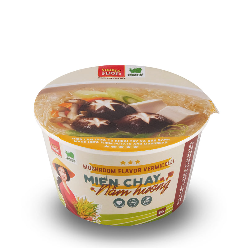 Mushroom Vermicelli Glass Instant Noodle Bowl  - (Pack of 9)