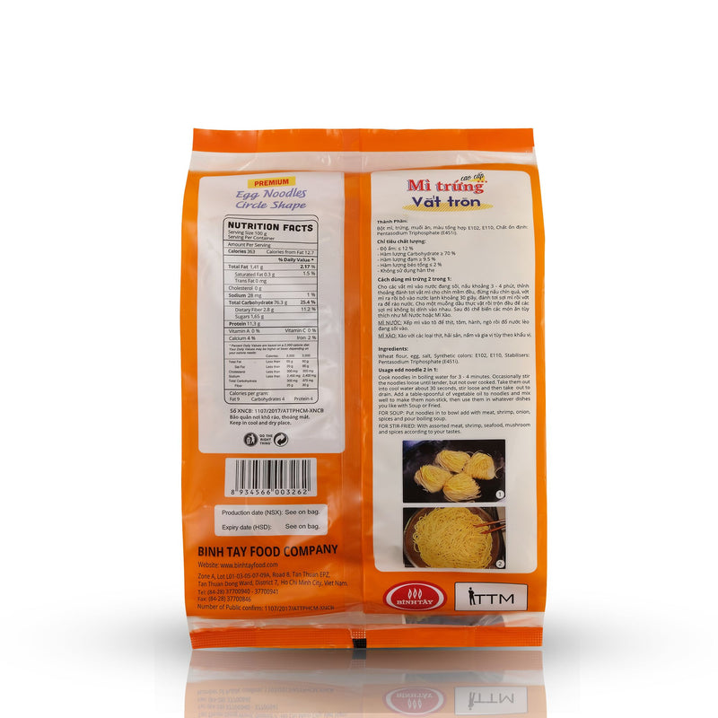 Authentic Premium Egg Noodles Back