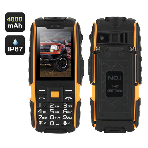 NO.1 A9 GSM Phone – 4800mAh Battery, 2.4 Inch 240x320 Screen, Dual SIM, IP67 Waterproof Rating, FM Radio, Flashlight