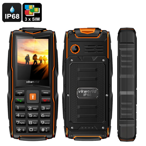 VKWorld New Stone V3 GSM Cell Phone - 3SIM Slots, IP68, Shockproof, FM Radio, Micro SD Slot, Powerbank, Flashlight, Radio