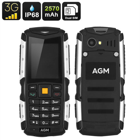 Rugged 3G Mobile Phone AGM M1 - IP68, Dual-IMEI, Removable Battery 2570mAh, 2MP Camera