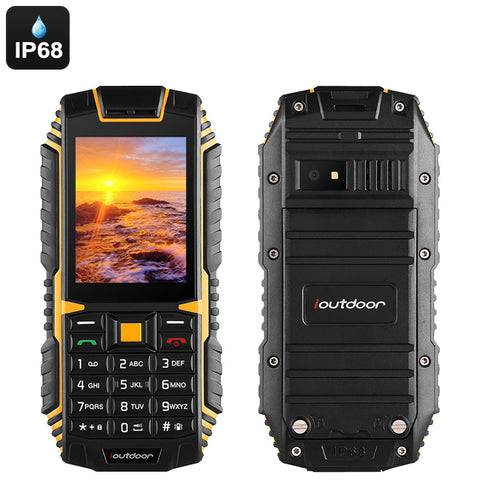 iOutdoor T1 Rugged Phone - IP68 Waterproof, Bluetooth, Dual-IMEI, 2MP Camera, Flashlight, 2100mAh Battery